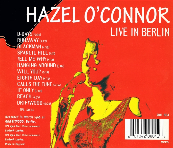 Hazel O'Connor - Live In Berlin - Back Cover