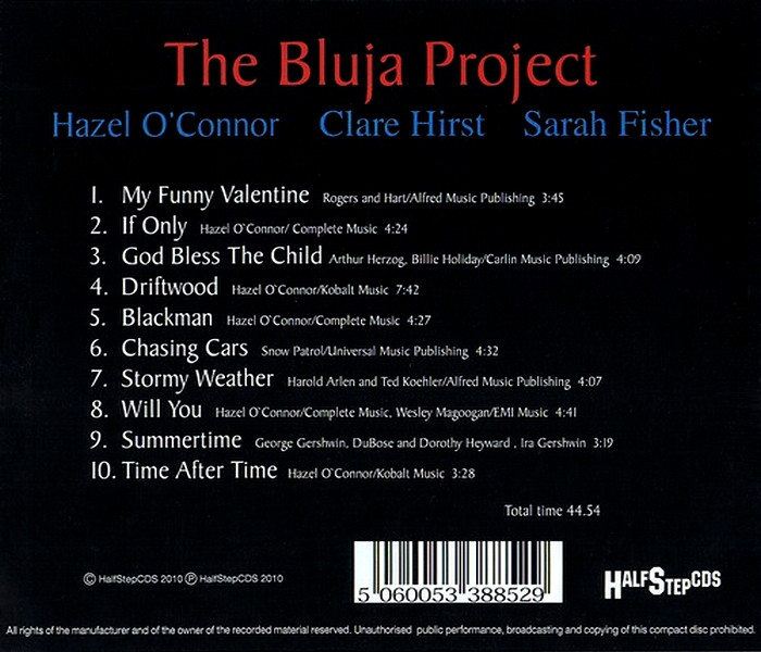 Hazel O'Connor - The Bluja Project - Back Cover